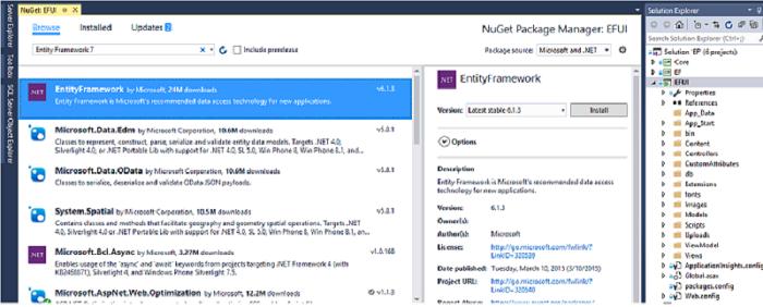 Entity Framework Environment Setup - NuGet Package Manager